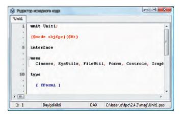 Окно исходного кода